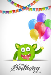 Blue monster on birthday card template