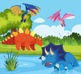 Dinosaurs in nature scene
