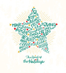 Holiday greeting card with inspiring handwritten words in star shape.  Christmas star card Word Cloud design