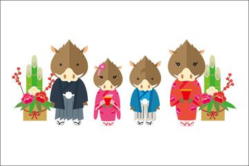 年賀状素材:和装のゆるキャラの猪家族のイラスト ご挨拶