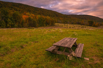 Beautiful mountain view on Appalachian trail in Vernon, New Jersey featuring moody sky and mountains on the background