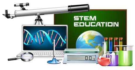 Set of technology object stem education