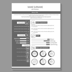 business cv resume with infography template vector