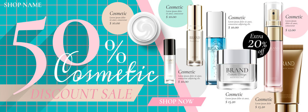 Cosmetic sale banner ads