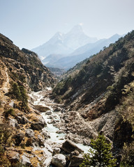View of Dudh Kosi river passing through mountains