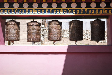 Prayer Wheels at a Buddhist temple deep in the Himalayas
