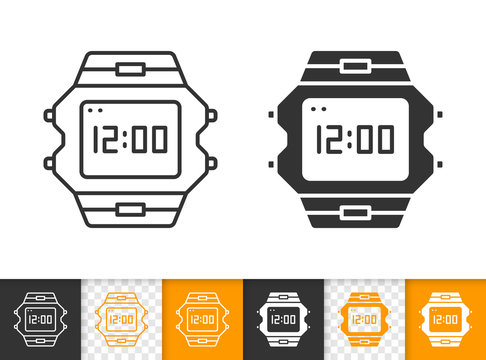 Wristwatch simple black line vector icon
