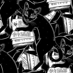 Smart black cat reading the magic book seamless pattern.