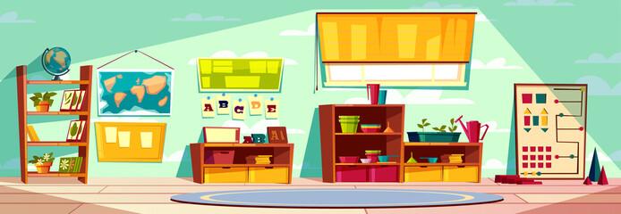 Montessori kindergarten playroom, elementary school class, kid room interior cartoon vector illustration with toys, teaching materials, books on rack, world map on wall and round carpet on floor