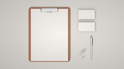 Clipboard, business cards, paper clips and pen