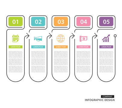 Infographics tab in vertical thin line index with 5 data template. Vector illustration abstract background. Can be used for workflow layout, business step, banner, web design.