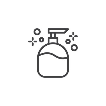 Liquid soap outline icon. linear style sign for mobile concept and web design. Cosmetic plastic bottle with dispenser pump simple line vector icon. Symbol, logo illustration. Pixel perfect vector