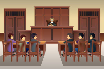 People in Court Scene Illustration