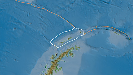 Outlined Shetland tectonic plate and borders of adjacent plates on the physical map
