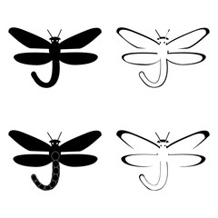Vector illustration of black and white dragonflies