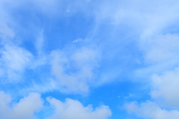 Blue sky with white clouds closeup