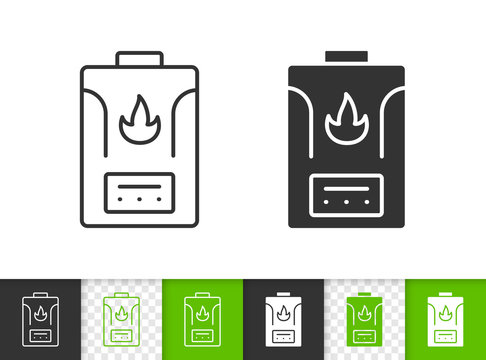 Gas Boiler simple black line vector icon