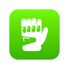 Paintball sport glove icon green vector isolated on white background