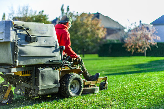 Man with cap and red shirt is using a tractor grass cutter to lawn perfect green grass - back view - Collection that highlights the various landscaping tools, seasonal jobs and tasks.