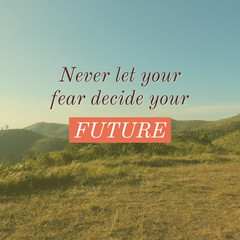 Inspirational motivation quote about life on beautiful landscape background