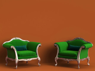 Classic chairs in green and gold on orange background with copy space