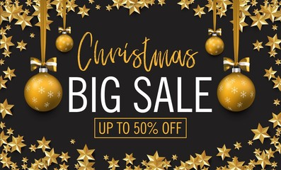 Christmas big sale. Discount banner. Christmas and new year illustration