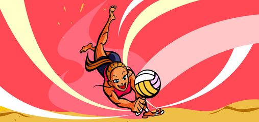 Woman playing volleyball on the beach
