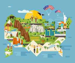 Attractions infographics about America vector