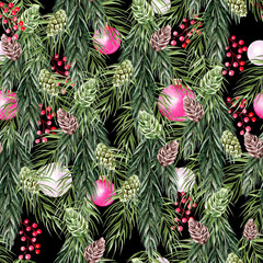 Beautiful bright watercolor New Year pattern with pine cones, pine branches and toys.