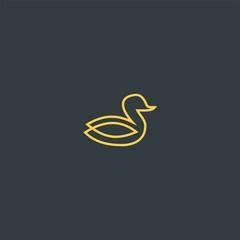 Line art duck symbol design