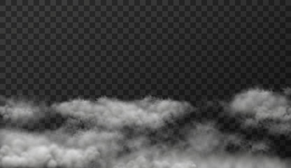Vector illustration of white smoky clouds  on transparent background