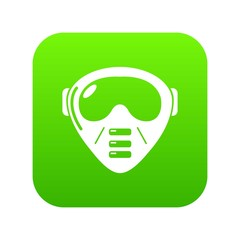 Paintball mask equipment icon green vector isolated on white background