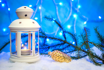 Beautiful Christmas picture with a lantern and a glass cone