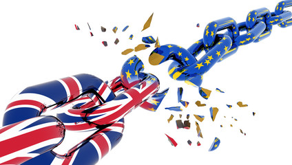 european union chain broken shuttered brexit - 3d rendering