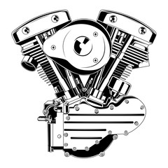Vector black and white image of a motorcycle engine.