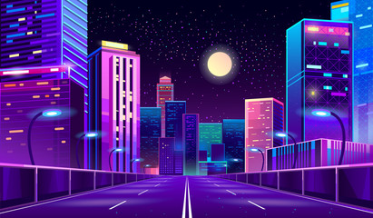 Vector concept background with night city illuminated with neon glowing lights. Futuristic cityscape in blue and violet colors, panorama with modern buildings and skyscrapers, highway