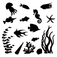 The set of black silhouettes of sea fish