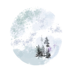 Round Shaped Mystical Forest. Great for Christmas, New Year, and Winter Holiday Print, Card, Poster, and Marketing Promotion.