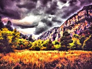 Hand drawing watercolor art on canvas. Artistic big print. Original modern painting. Acrylic dry brush background. Wonderful autumn mountain landscape. Canyon savanna resort. Travel time. Dark sky.