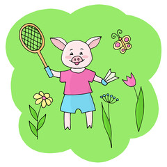 Vector piggy playing badminton in nature