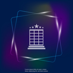 Vector hotel neon light image. Hotel business icon. Image icon of a five-star hotel. Layers grouped for easy editing illustration. For your design.