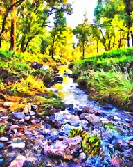 Hand drawing watercolor art on canvas. Artistic big print. Original modern painting. Acrylic dry brush background. Wonderful summer landscape. European wild nature. Travel time. Small forest river.