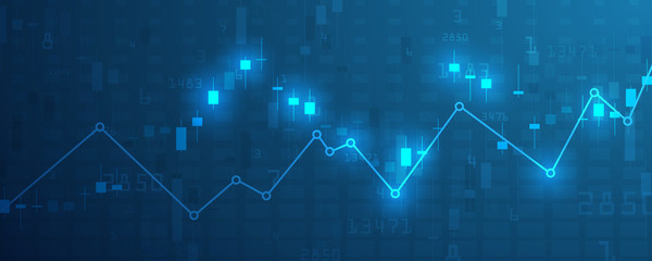 Stock market graph or forex trading chart for business and financial concepts, reports and investment on blue background . Vector illustration