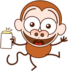 Brown monkey in minimalist style with big rounded ears and long tail while widely opening its bulging eyes, raising its arms and holding a glass of frothy beer as for celebrating something special