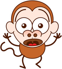 Cute brown monkey in minimalist style with big rounded ears, bulging eyes and long tail while widely opening its eyes, raising its arms and expressing surprise and fear