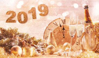 Golden 2019 New Years Eve party background
