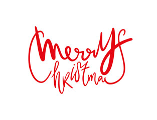 Merry Christmas. Hand drawn lettering. Modern brush calligraphy. Cartoon vector illustration.