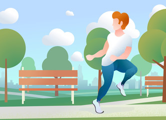 Young guy run in a urban park with city skyline on the background, flat concept illustration with text place
