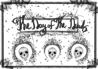 day of the deat black and white banner in dot work style with skulls ornaments and decorations around