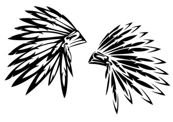 native american tribal chief traditional feathered headdress black and white vector design